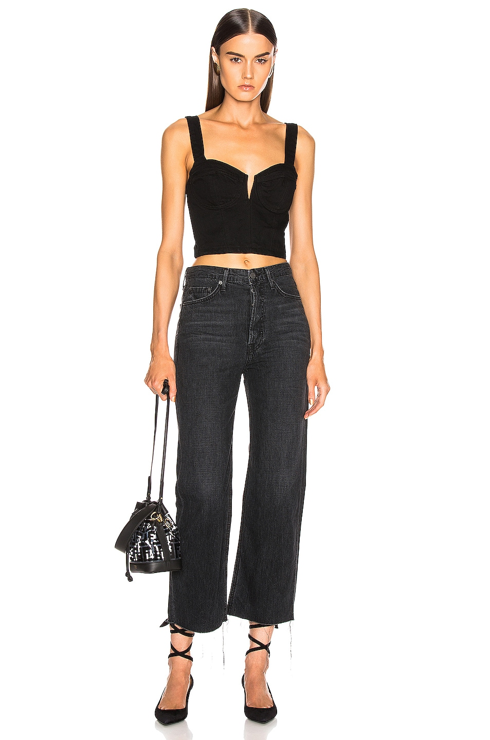 Image 4 of GRLFRND Bobbi High Rise Wide Leg Crop in On The Road