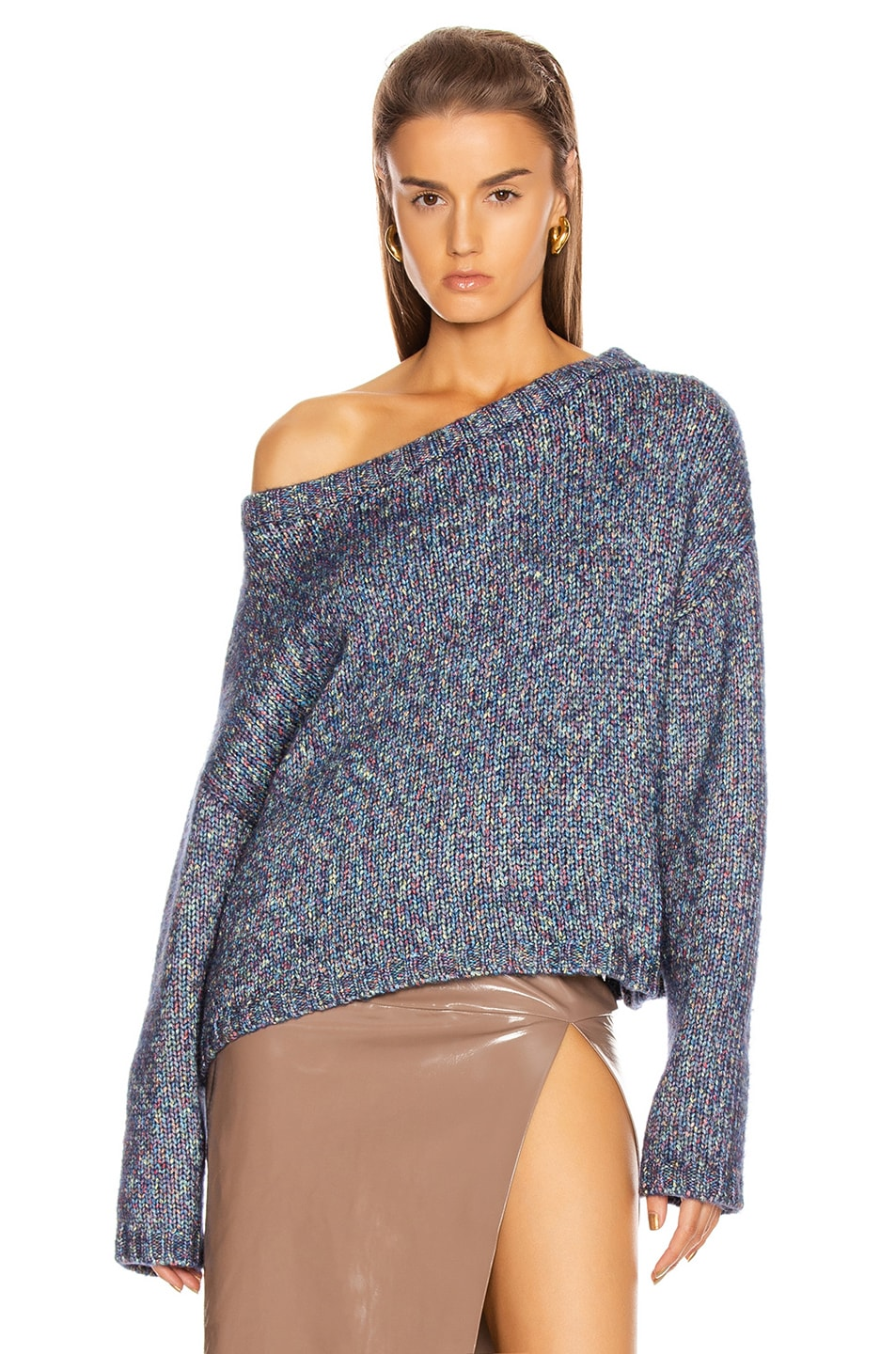 Image 2 of GRLFRND Flash Dance Sweater in Marled Blue