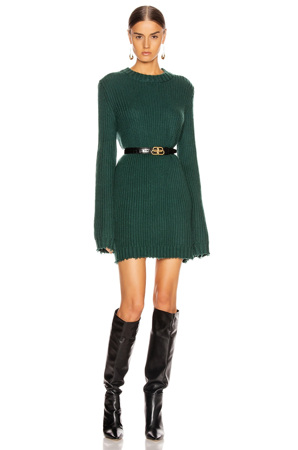 Image 1 of GRLFRND Lane Crewneck Sweater in Evergreen