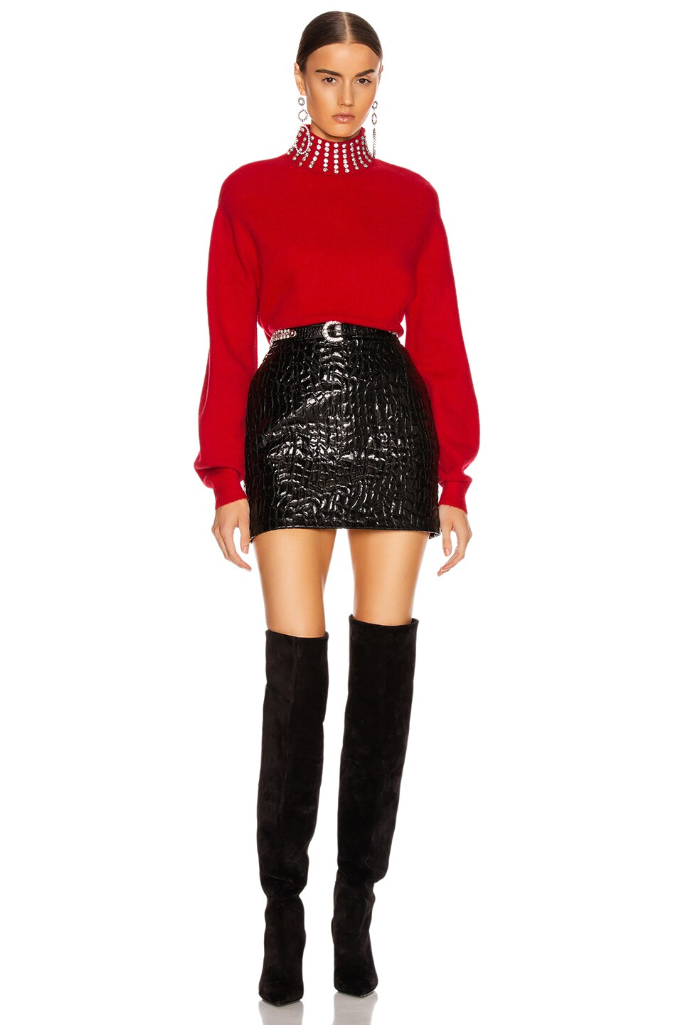 Image 4 of GRLFRND Katherine Embellished Sweater in Cherry Red