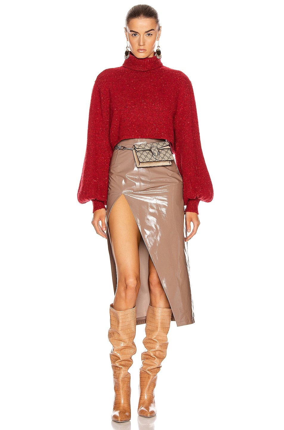 Image 4 of GRLFRND Mazzy Turtleneck Sweater in Red