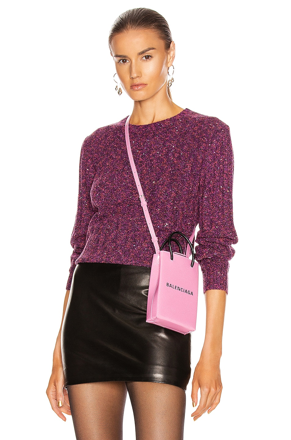 Image 1 of GRLFRND Freckled Sweater in Fuchsia & Black