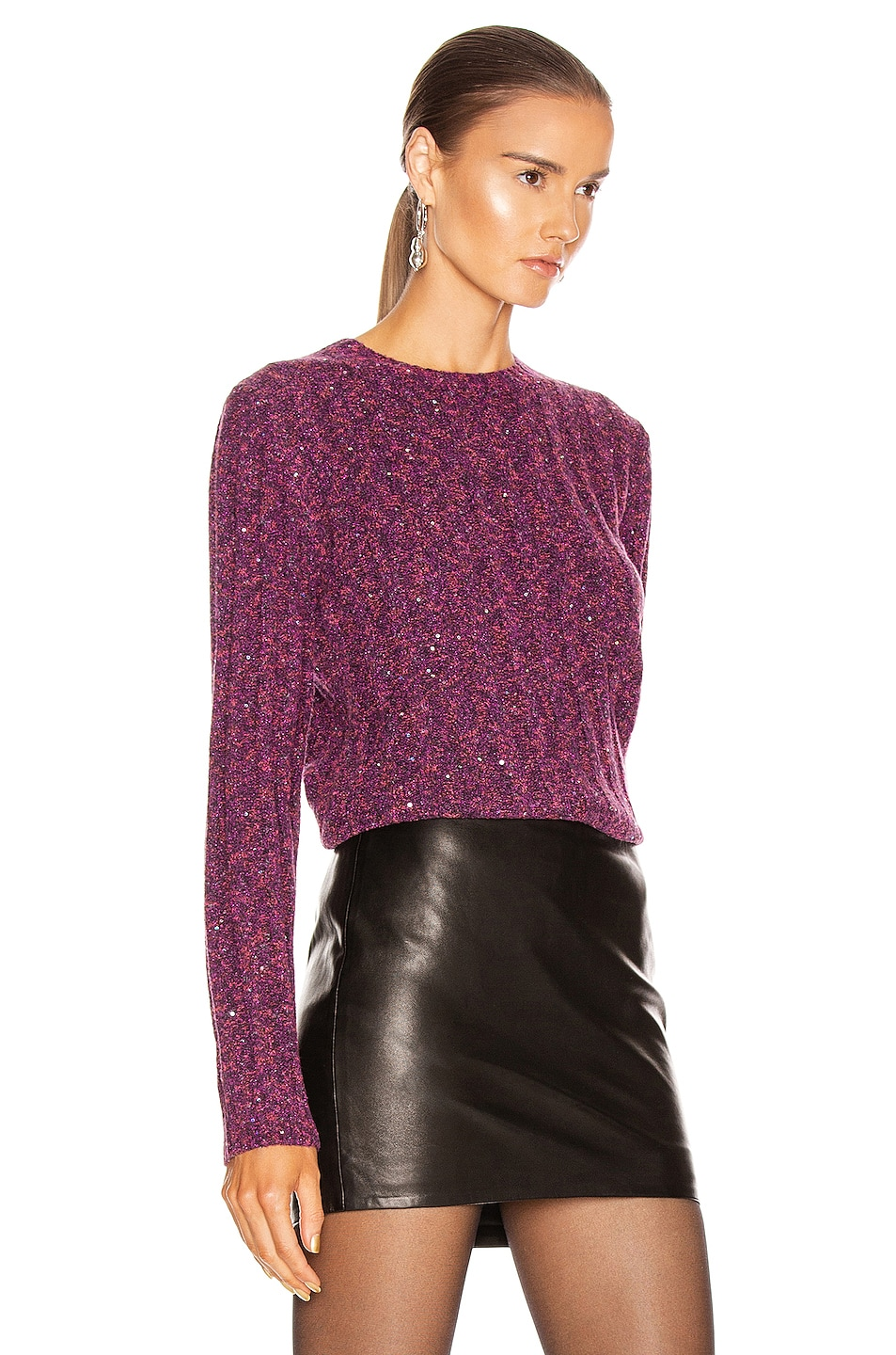 Image 2 of GRLFRND Freckled Sweater in Fuchsia & Black