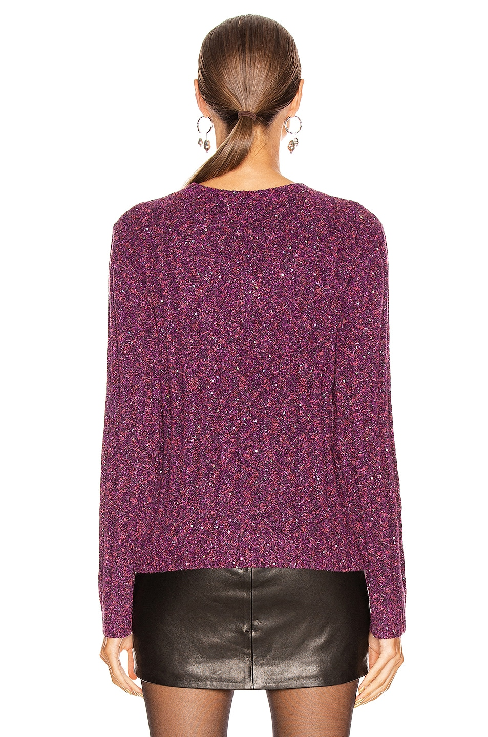 Image 3 of GRLFRND Freckled Sweater in Fuchsia & Black
