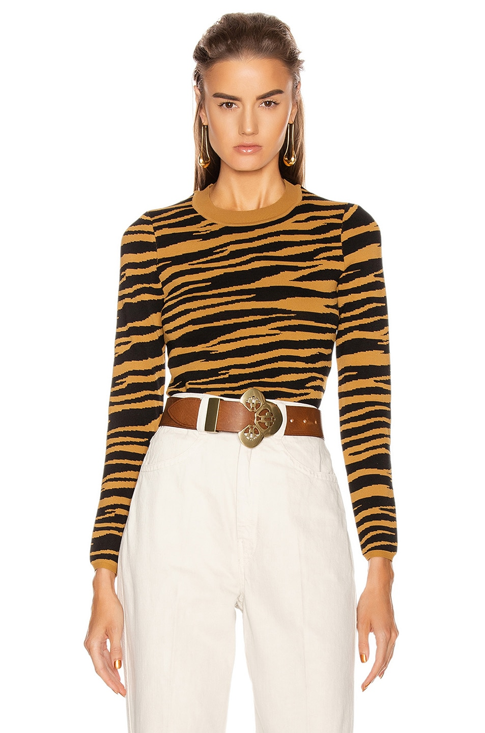 Image 1 of GRLFRND Toni Long Sleeve Sweater in Black and Gold