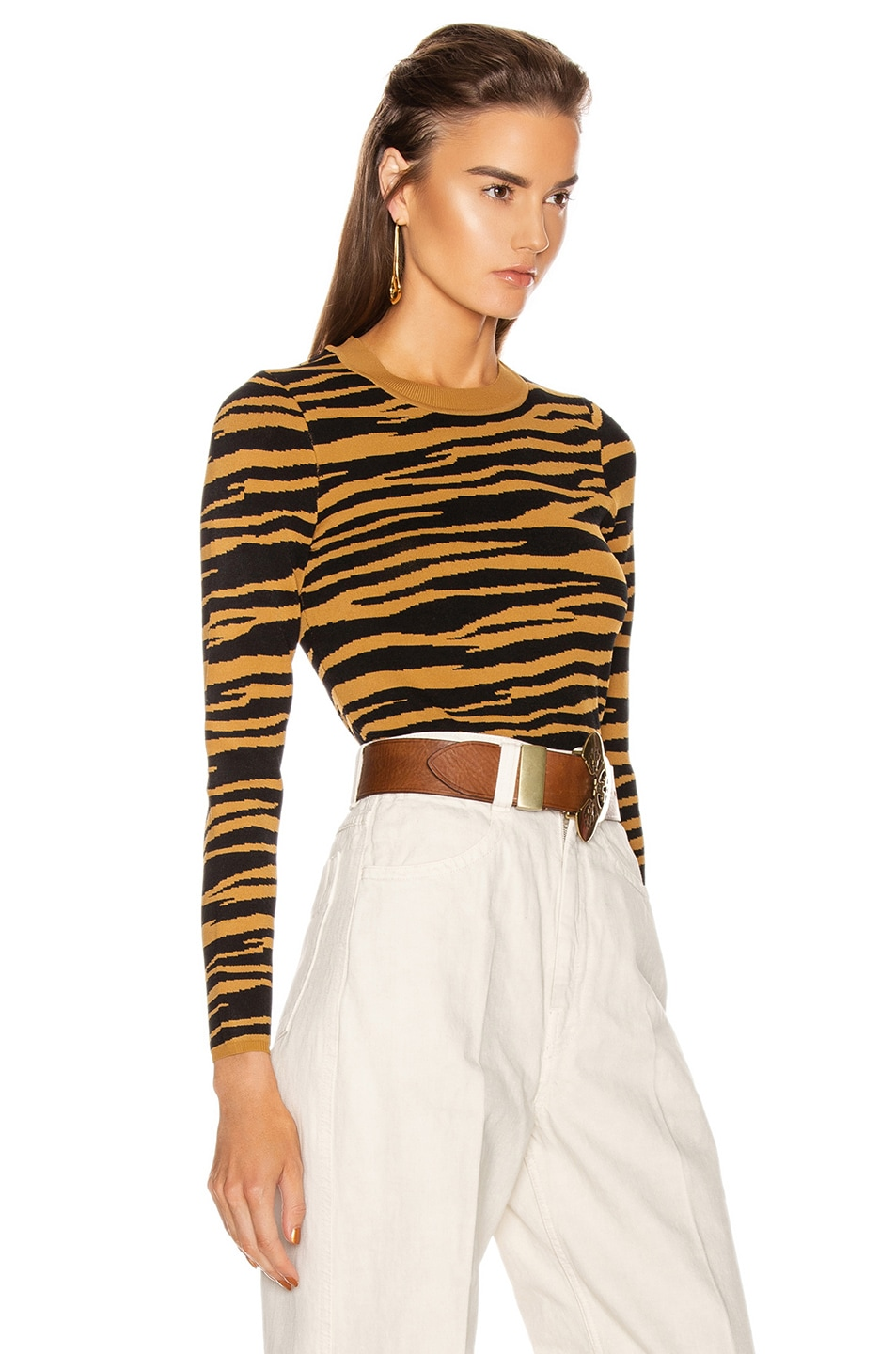 Image 2 of GRLFRND Toni Long Sleeve Sweater in Black and Gold