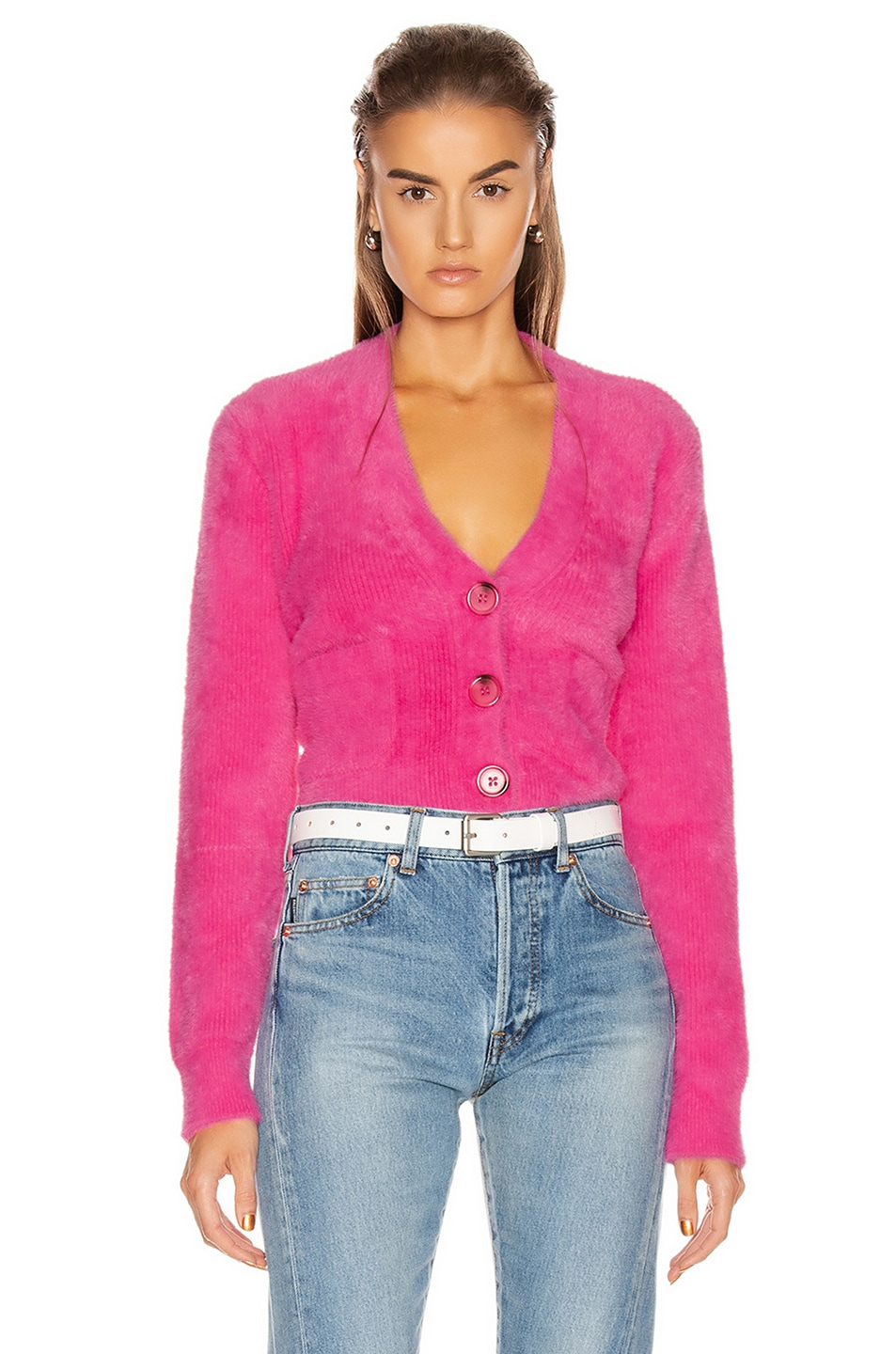 Image 1 of GRLFRND Gracie Cardigan in Bright Pink