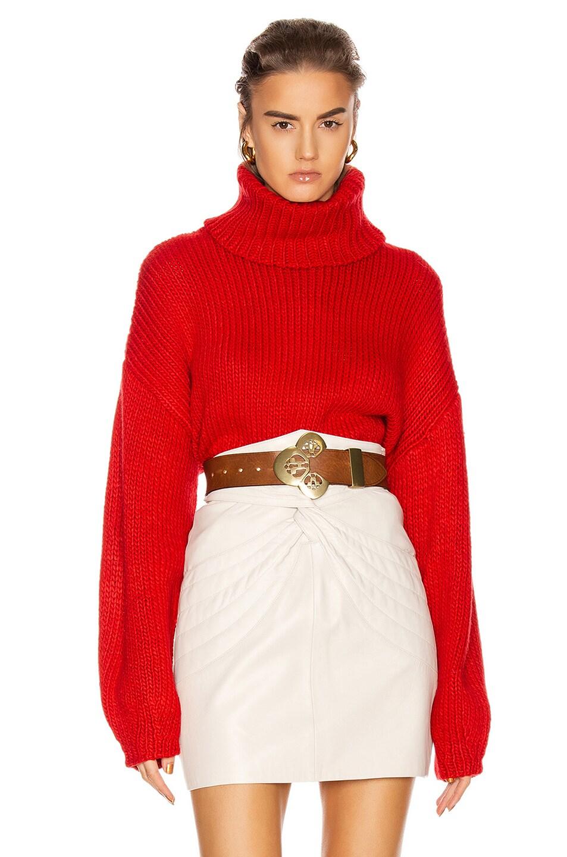 Image 1 of GRLFRND Samantha Turtleneck Sweater in Cherry Red