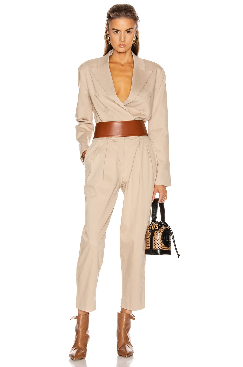 Image 5 of GRLFRND Power Crop Blazer in Khaki