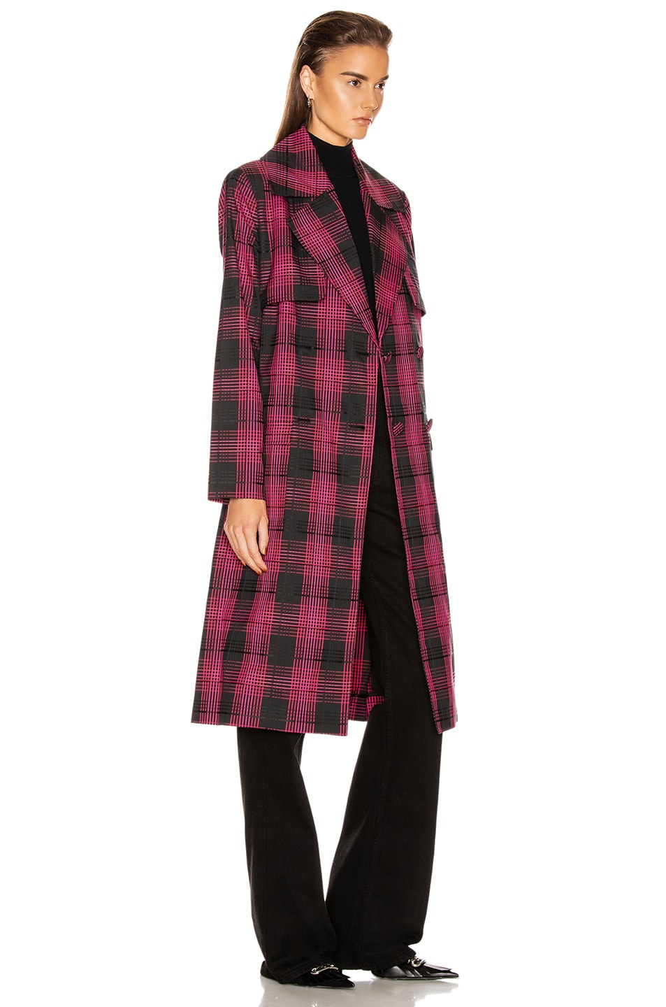 Image 3 of GRLFRND Taylor Midi Trench Coat in Black & Pink Plaid