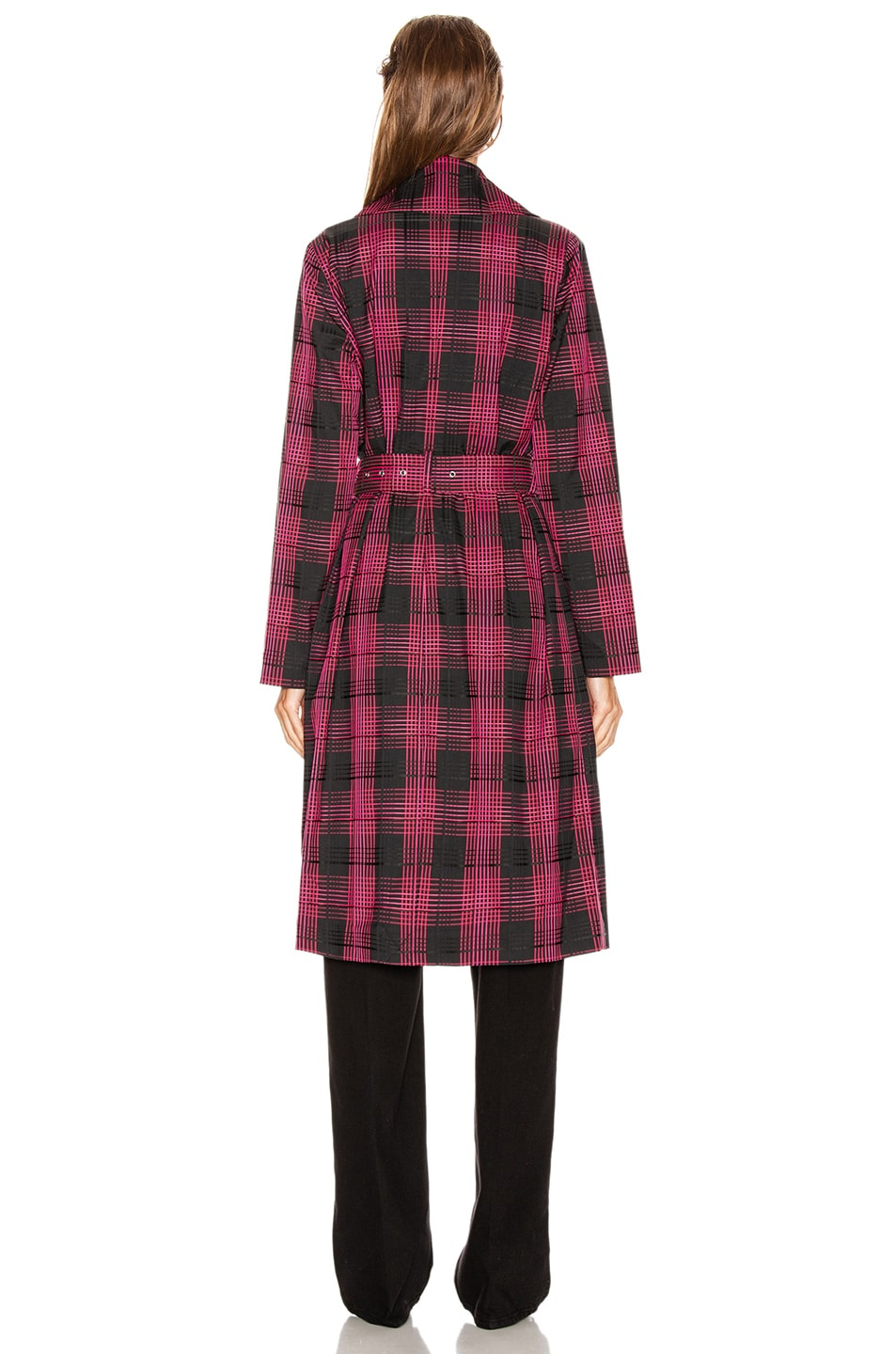 Image 4 of GRLFRND Taylor Midi Trench Coat in Black & Pink Plaid