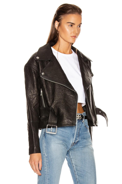 Image 3 of GRLFRND Charlie Leather Moto Jacket in Black