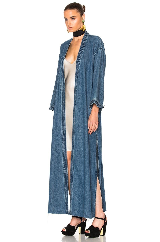 Image 4 of GRLFRND for FWRD Samantha Long Robe in Blue Velvet