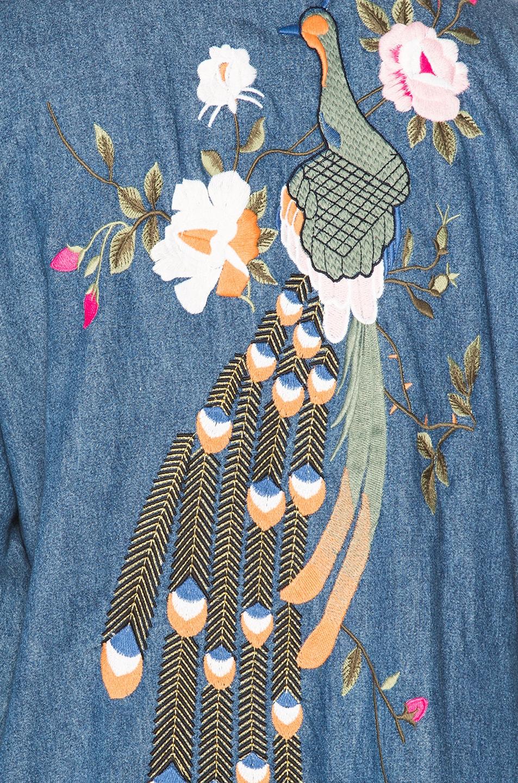Image 7 of GRLFRND for FWRD Samantha Long Robe in Blue Velvet