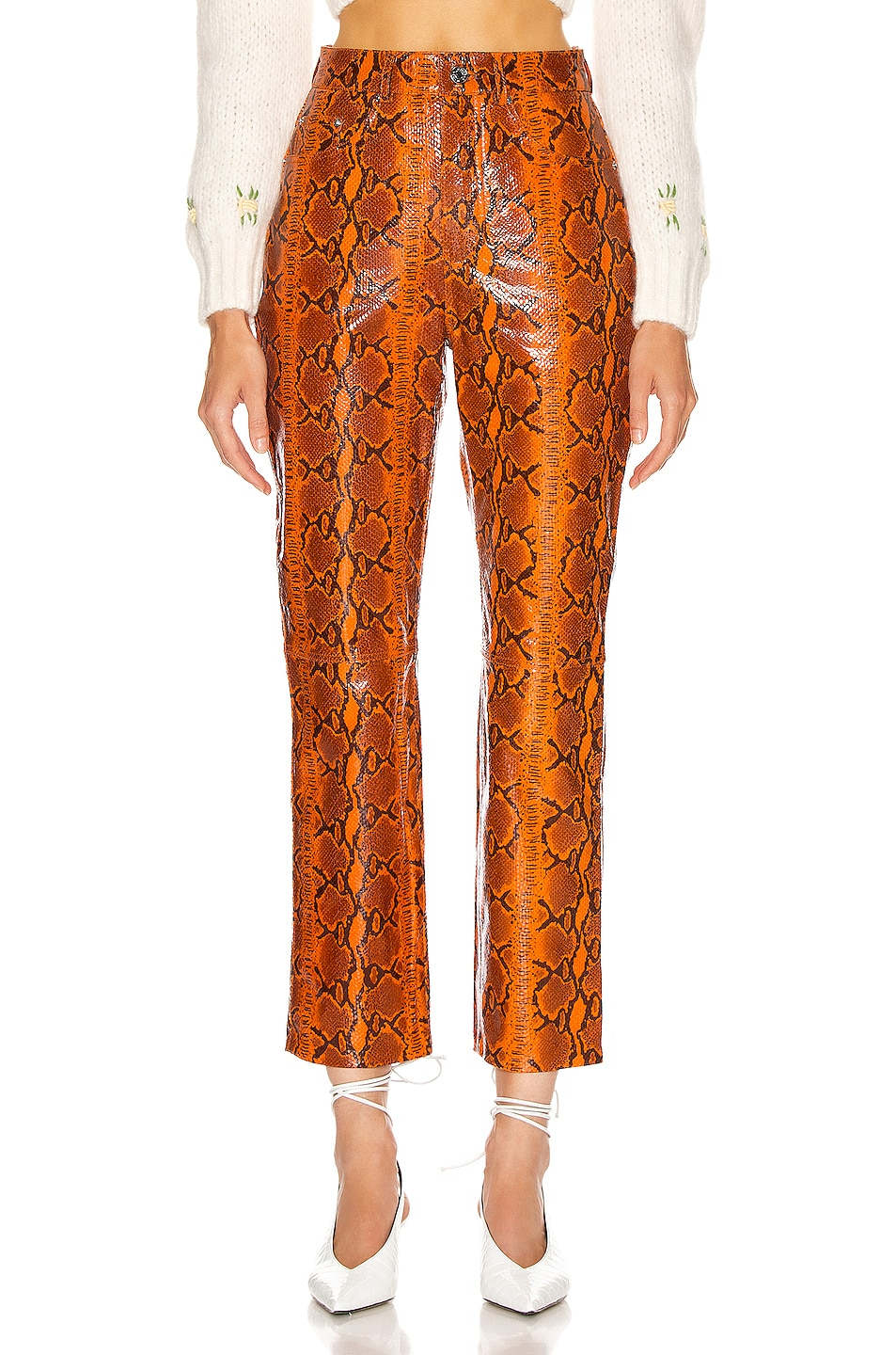 Image 1 of GRLFRND Shiloh Leather Pant in Orange Snake