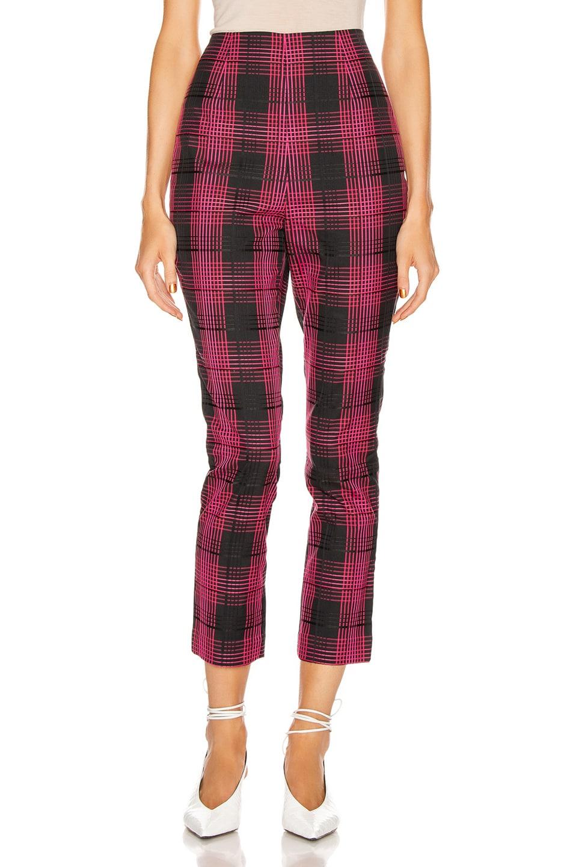 Image 1 of GRLFRND Zane High Waist Pant in Black & Pink Plaid