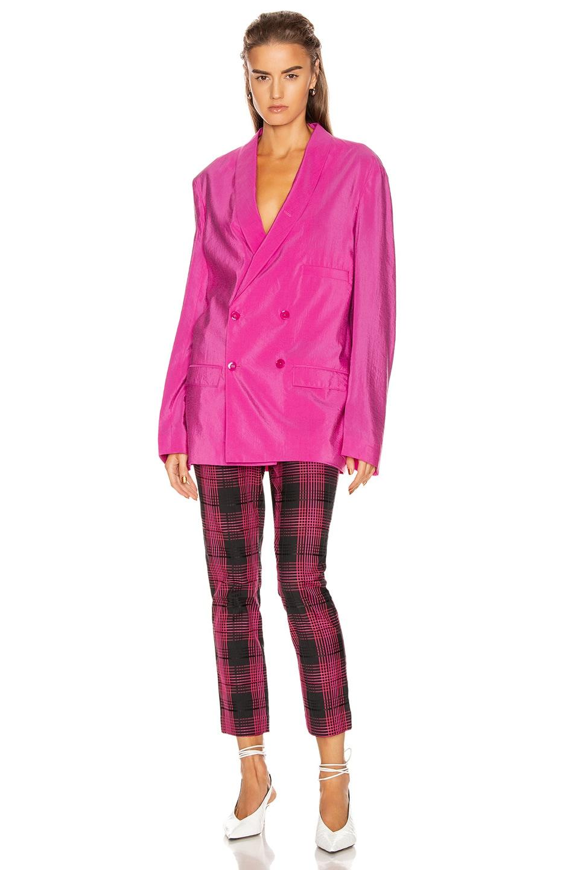Image 4 of GRLFRND Zane High Waist Pant in Black & Pink Plaid