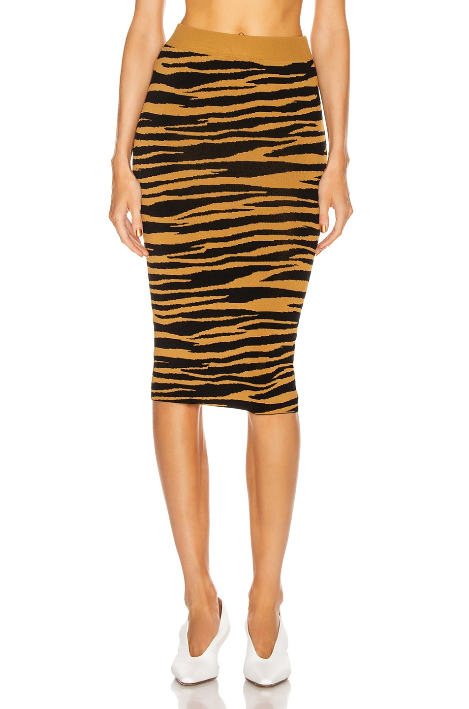 Image 1 of GRLFRND Toni Midi Skirt in Black and Gold