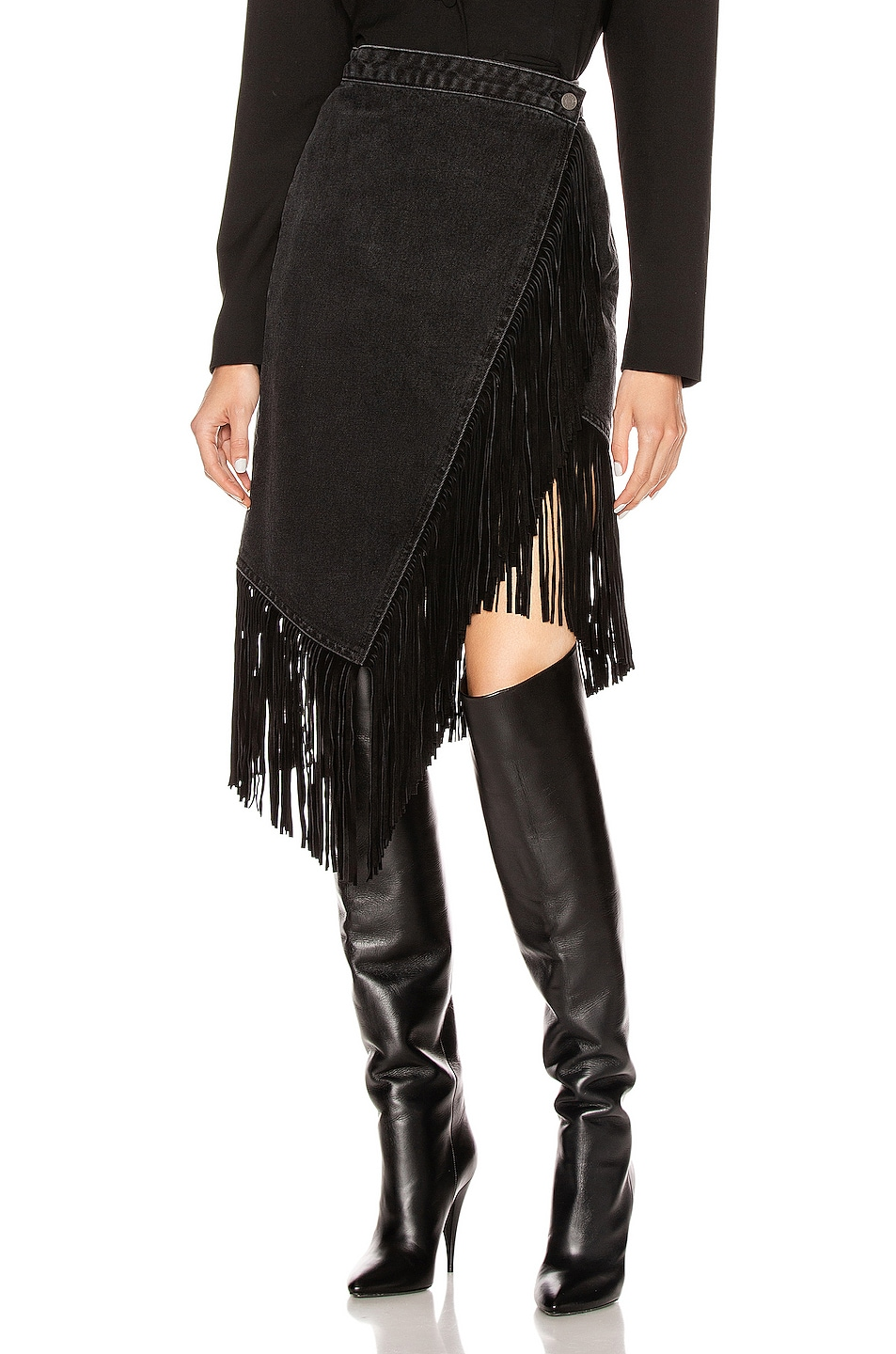 Image 1 of GRLFRND Indira Fringe Wrap Skirt in Never Enough