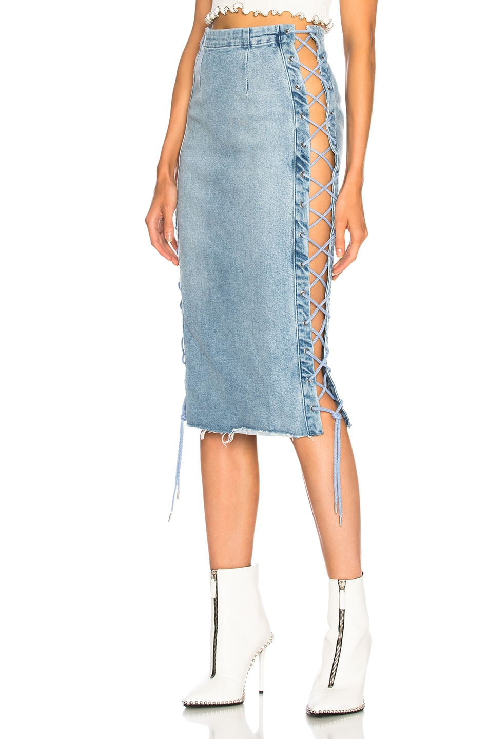 Image 1 of GRLFRND for FWRD Crystal Lace Up Skirt in Beat Drop