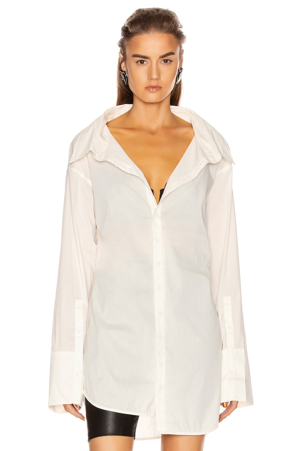 Image 2 of GRLFRND BF Button Down Blouse in White