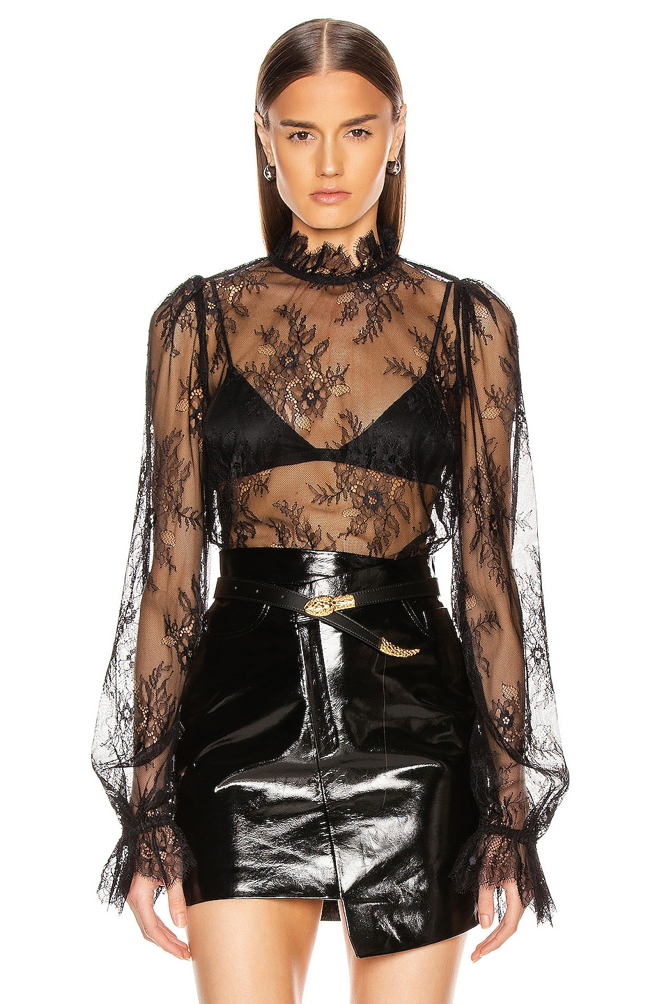 Image 1 of GRLFRND Lacey Blouse in Black