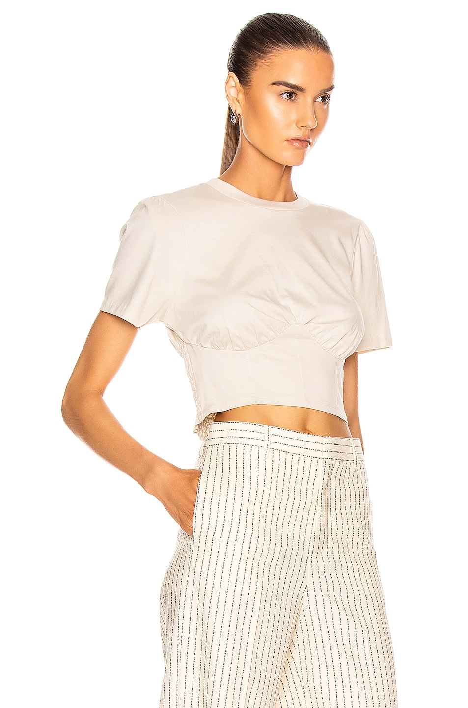 Image 2 of GRLFRND Frank Bustier Tee Shirt in Taupe