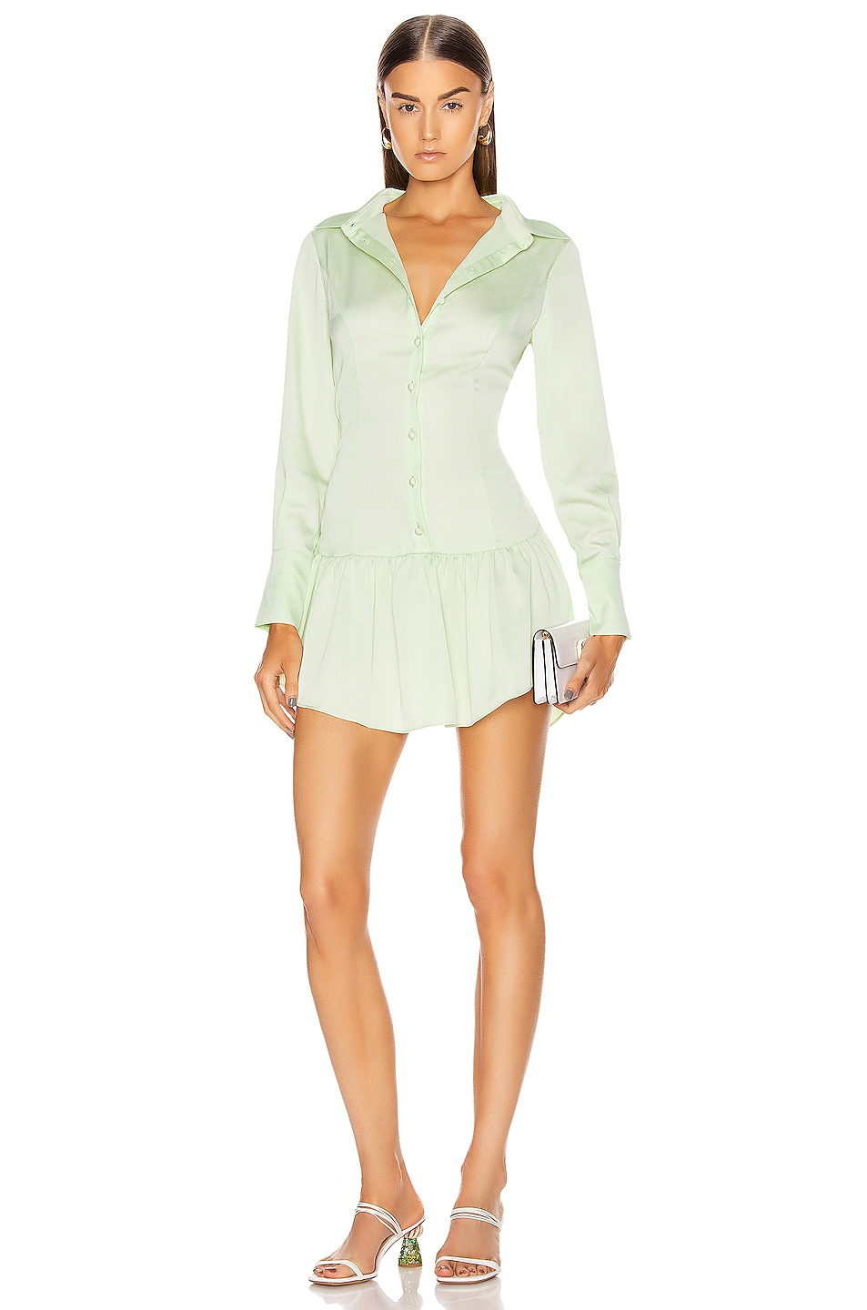 Image 1 of GRLFRND Malcolm Button Down Dress in Mint