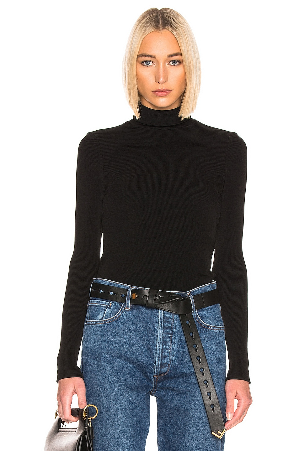 Image 1 of GOLDSIGN Rib Turtleneck Top in Black