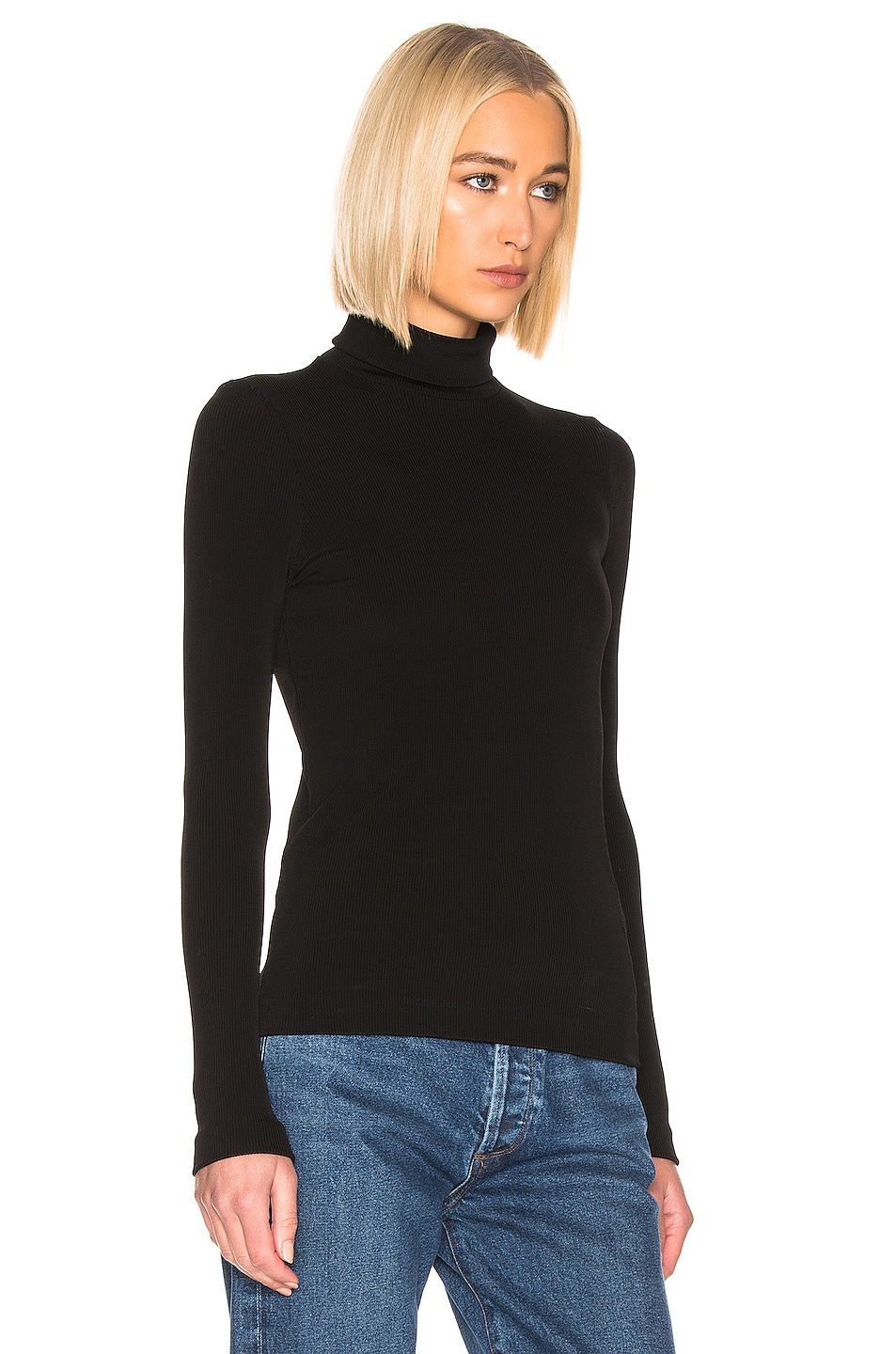 Image 2 of GOLDSIGN Rib Turtleneck Top in Black