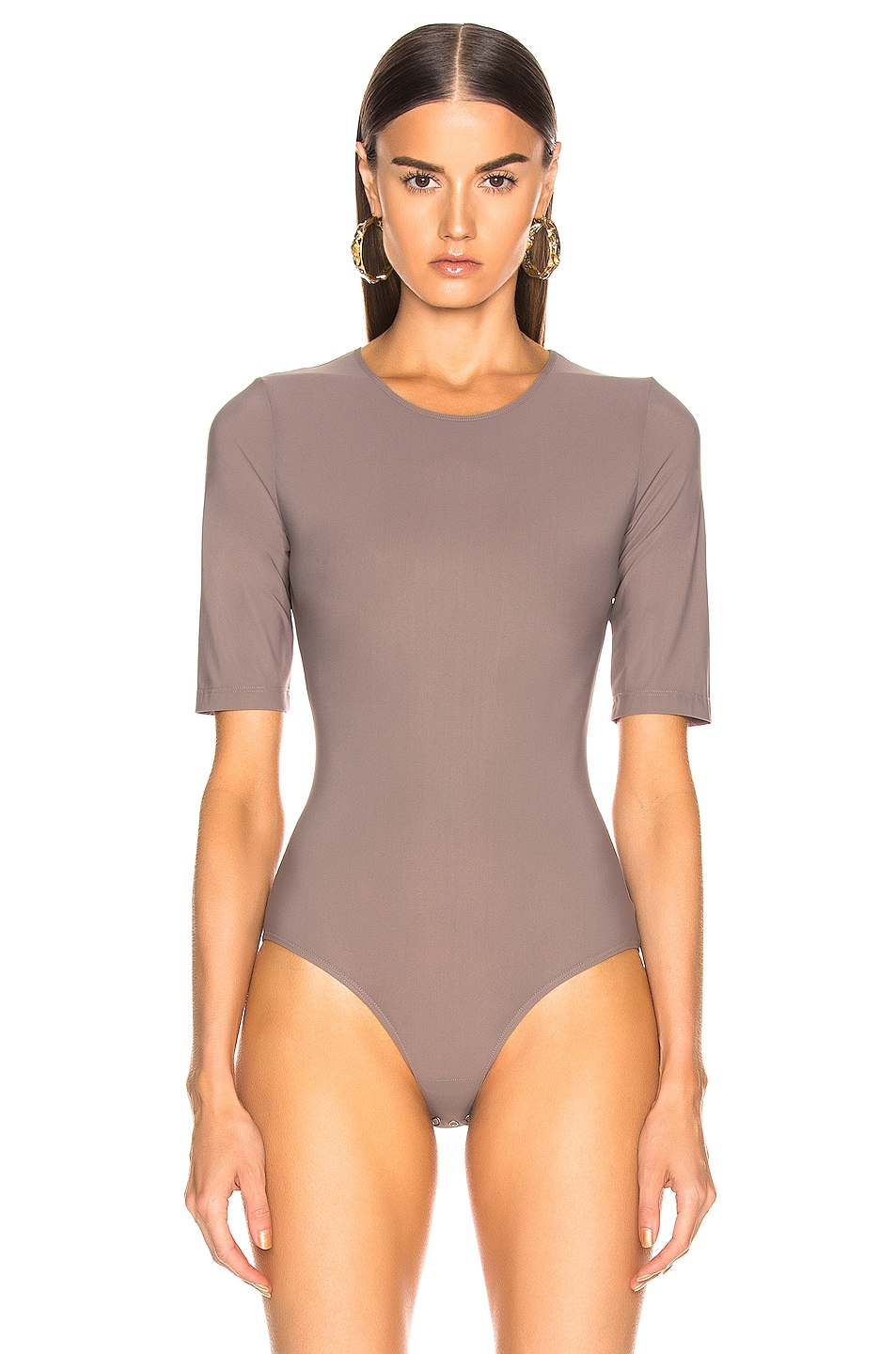 Image 2 of GOLDSIGN The Half Sleeve Bodysuit in Taupe
