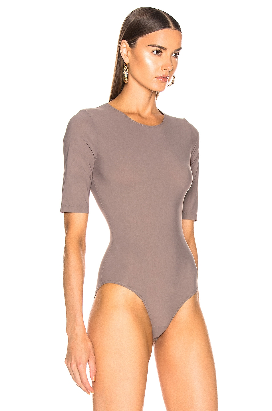Image 3 of GOLDSIGN The Half Sleeve Bodysuit in Taupe