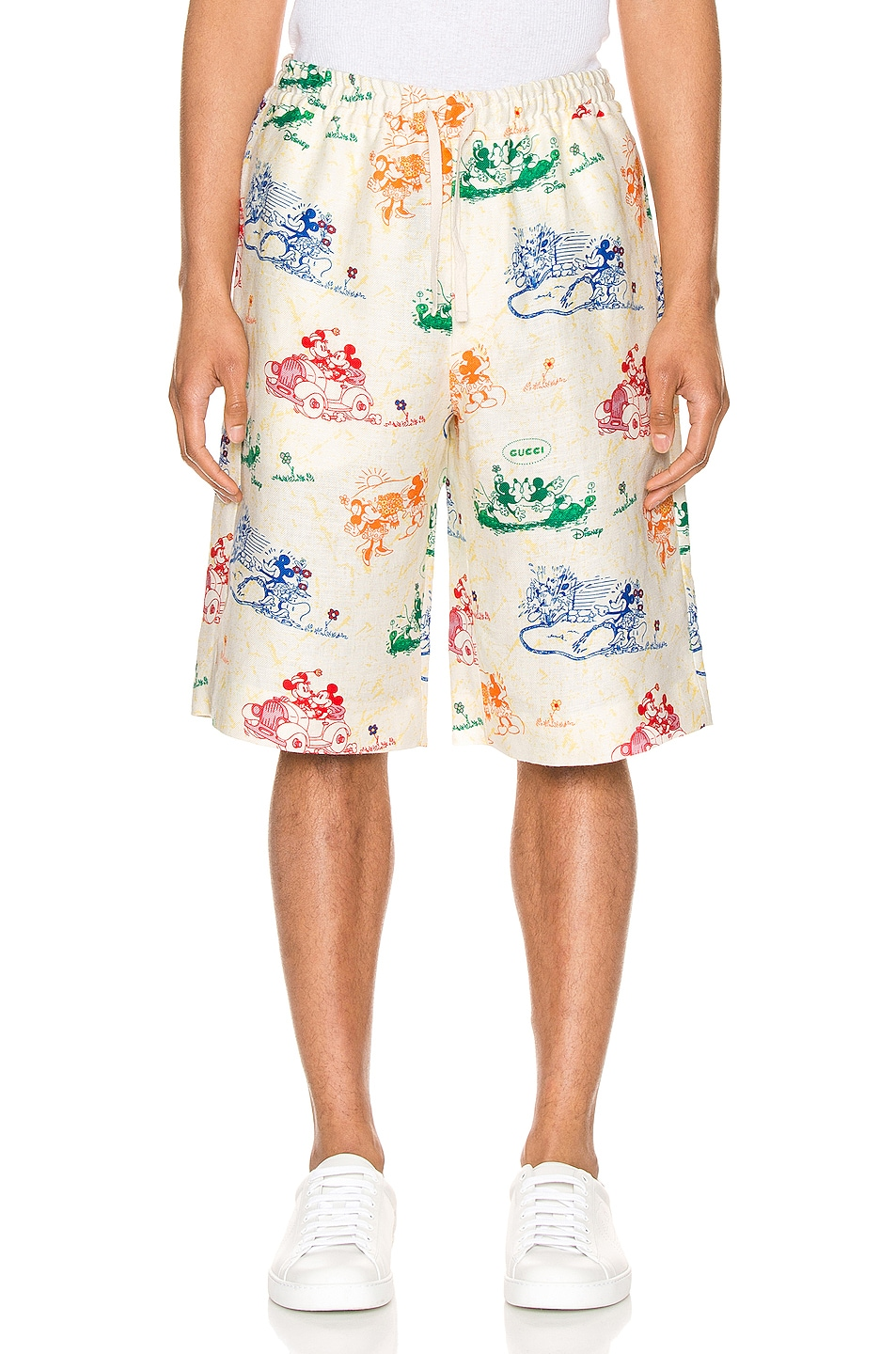 Image 1 of Gucci x Disney Linen Shorts in Ivory & Yard Print