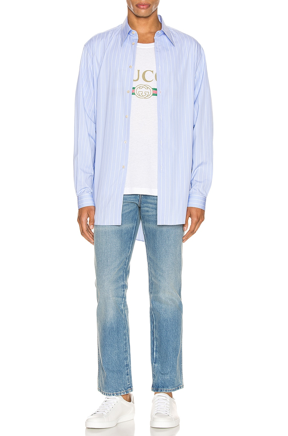 Image 4 of Gucci Marble Washed Denim Pant in Blue