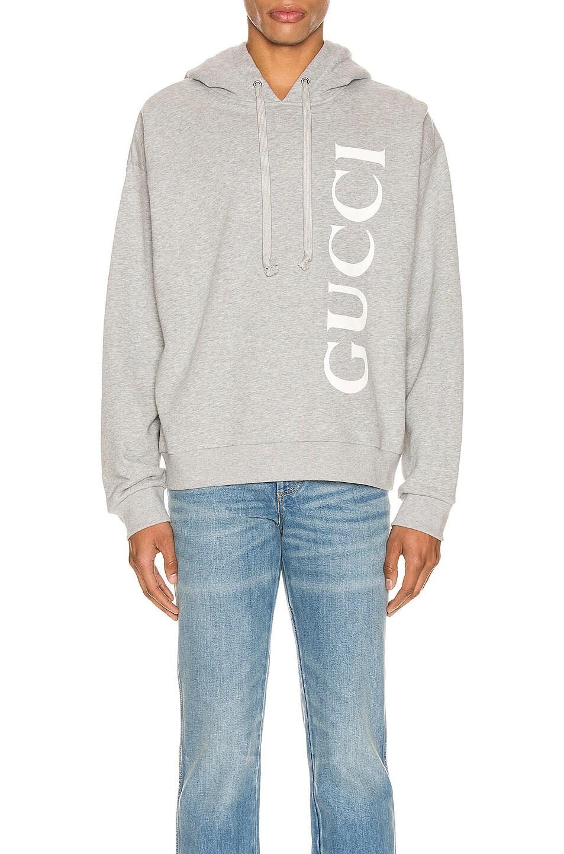 Image 1 of Gucci Print Hooded Sweatshirt in Medium Grey & White