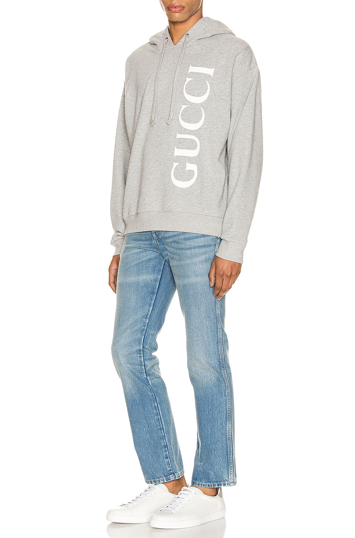 Image 4 of Gucci Print Hooded Sweatshirt in Medium Grey & White