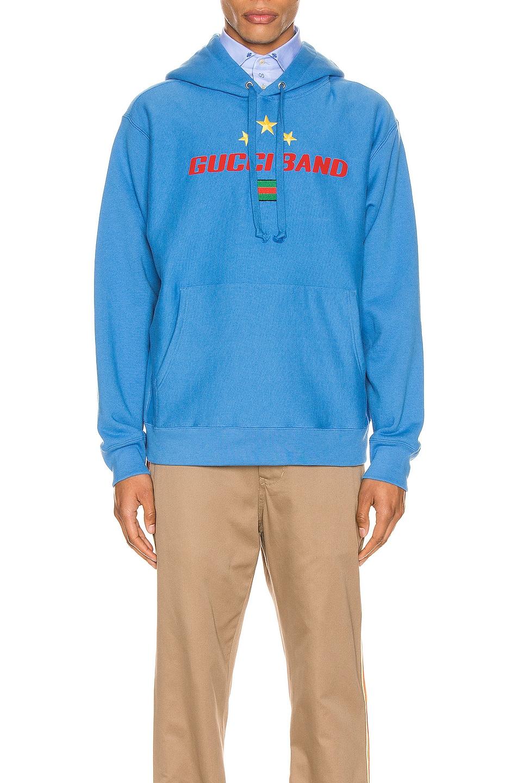 Image 1 of Gucci Gucci Band Print Hooded Sweatshirt in Bluette & MC