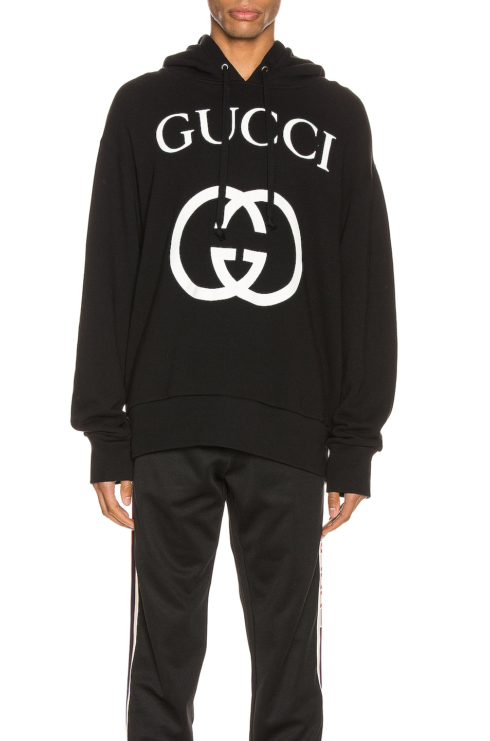 Image 1 of Gucci Hooded Sweatshirt With Interlocking G in Black & Ivory