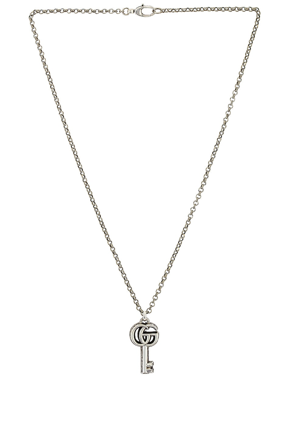 Image 1 of Gucci GG Marmont Key Necklace in Aged Silver