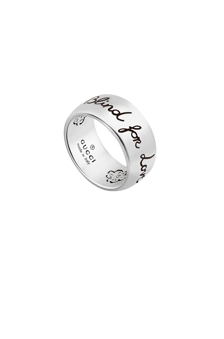 Image 1 of Gucci Blind for Love Ring in Sterling Silver & Black