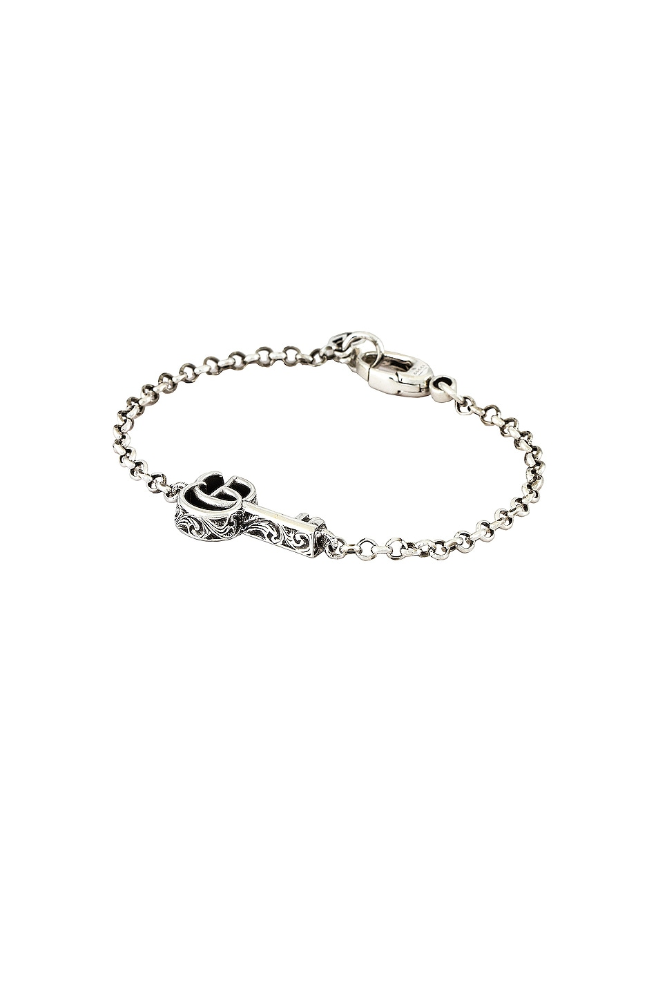Image 1 of Gucci GG Marmont Key Bracelet in Aged Silver