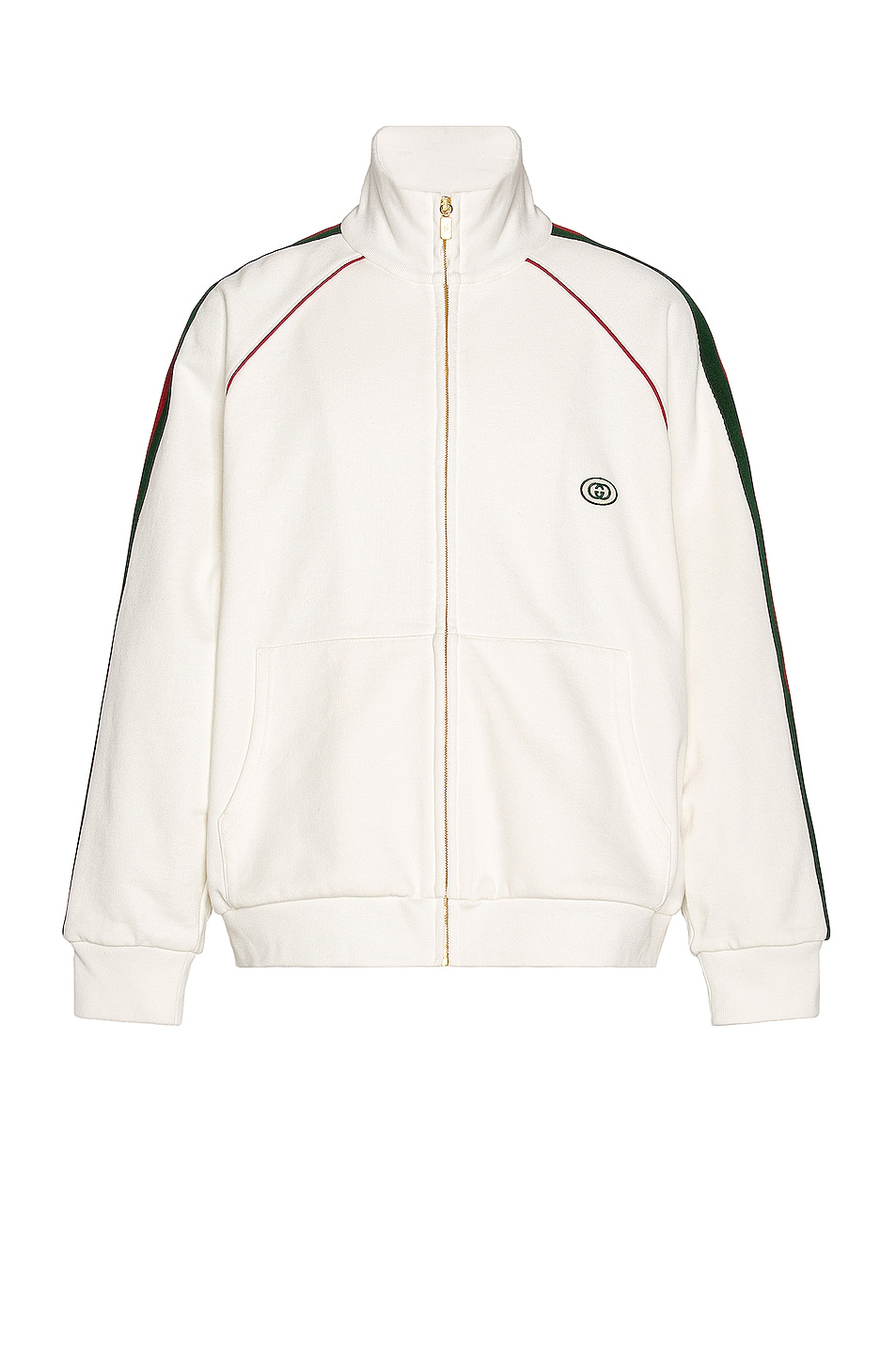 Image 1 of Gucci Track Jacket in Ivory & Green & Red