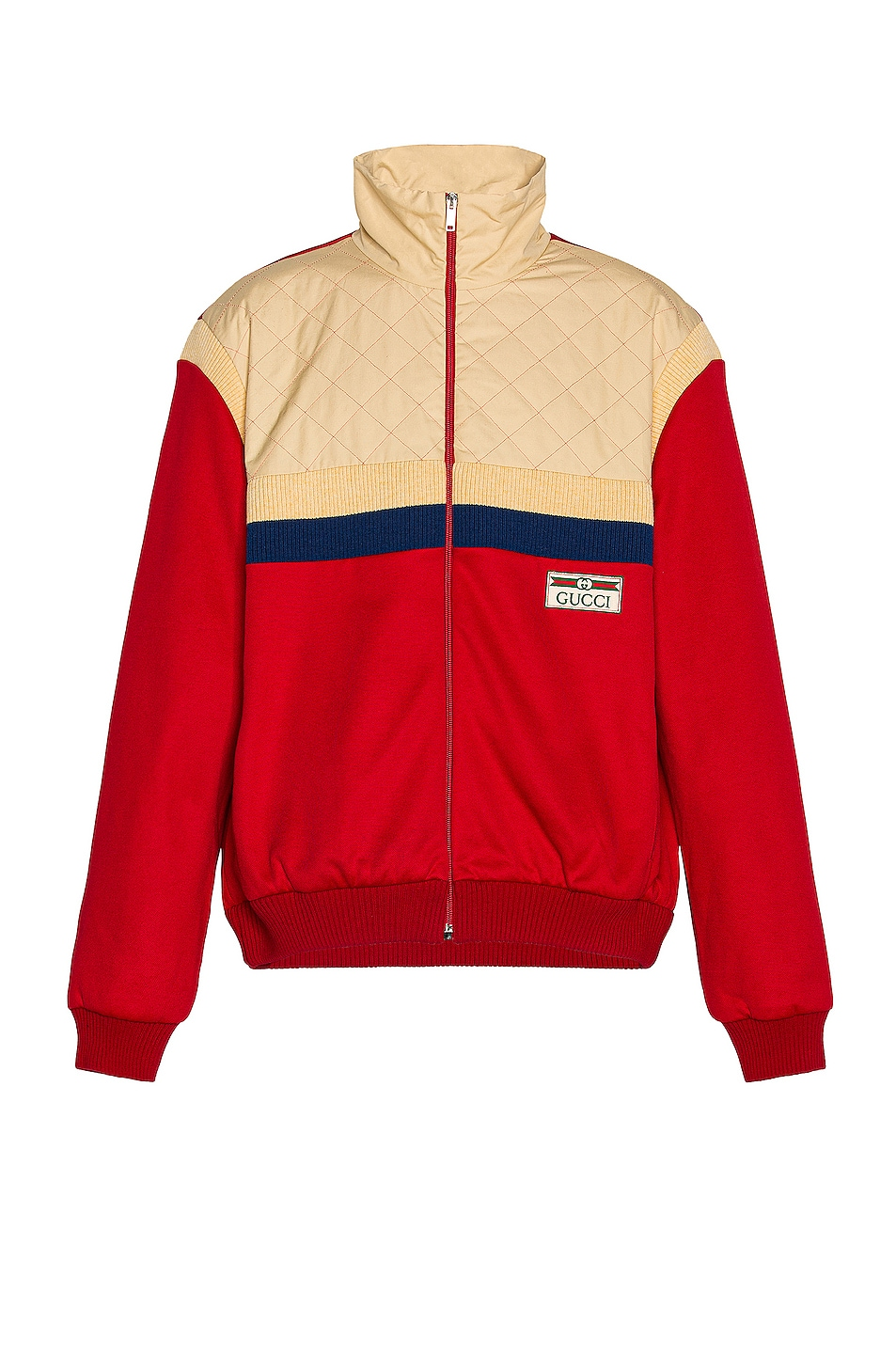 Image 1 of Gucci Track Jacket in Live Red & Ivory P & Mix