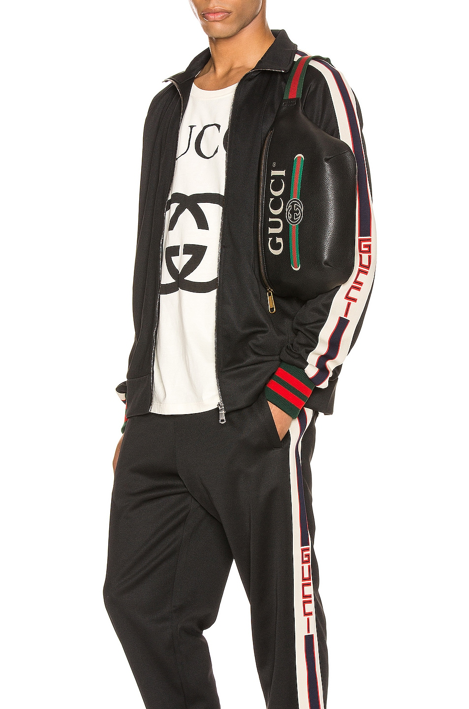 Image 1 of Gucci Technical Jersey Jacket in Black & Ivory & Live Red
