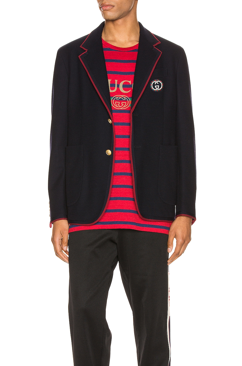 Image 1 of Gucci Palma Wool Cotton Jacket With Patch in Ink