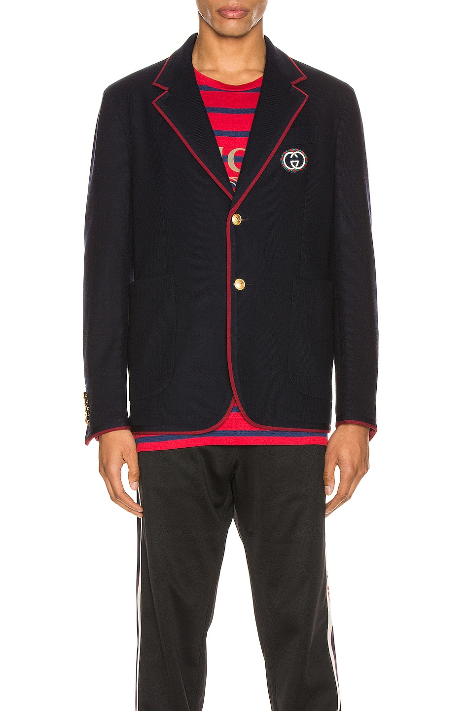 Image 2 of Gucci Palma Wool Cotton Jacket With Patch in Ink