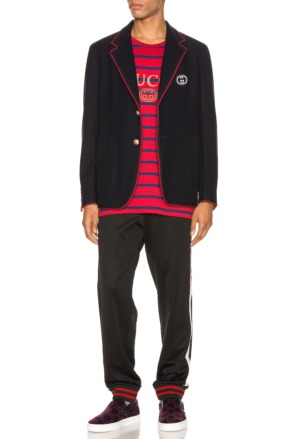 Image 5 of Gucci Palma Wool Cotton Jacket With Patch in Ink