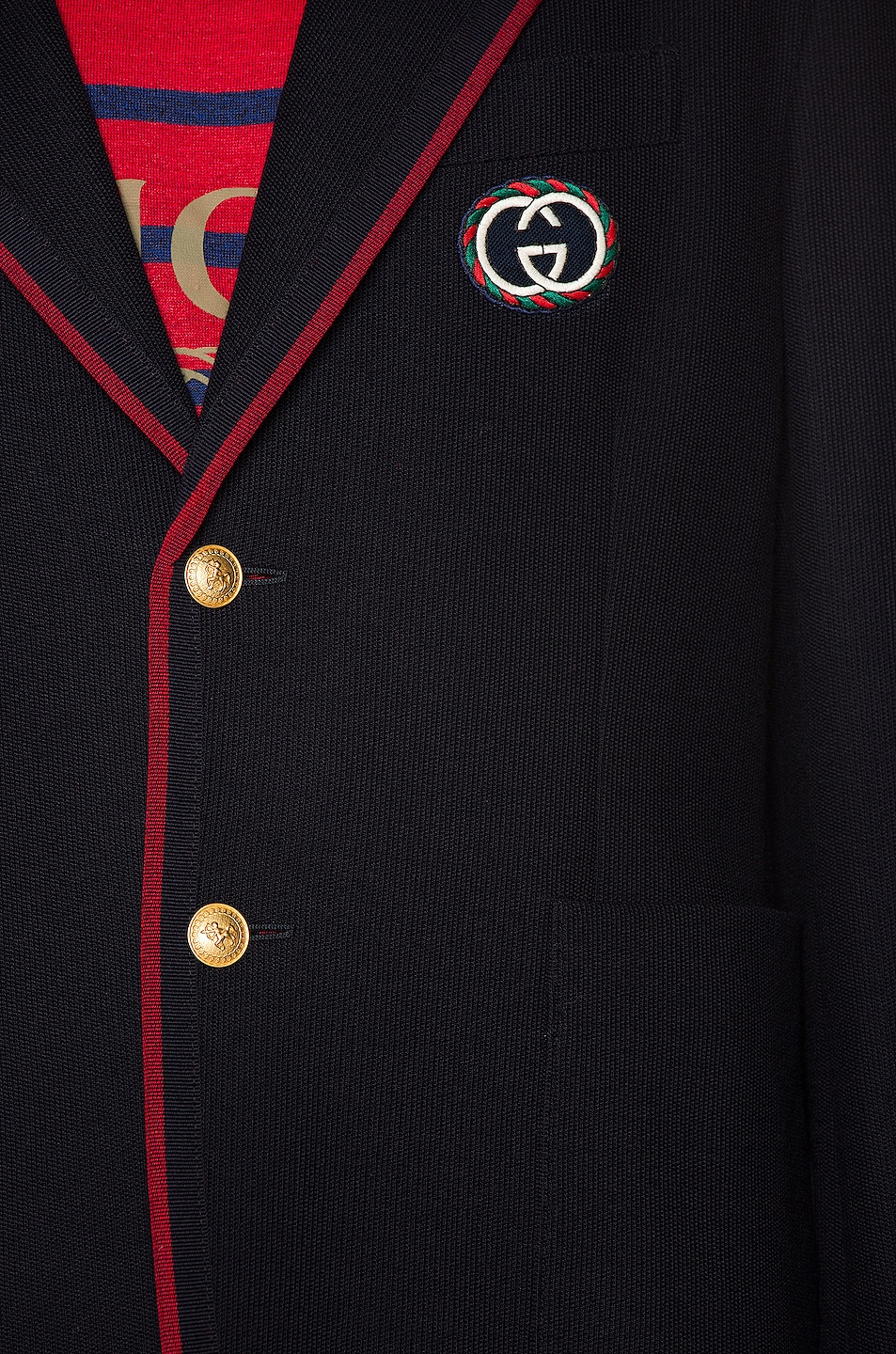 Image 6 of Gucci Palma Wool Cotton Jacket With Patch in Ink