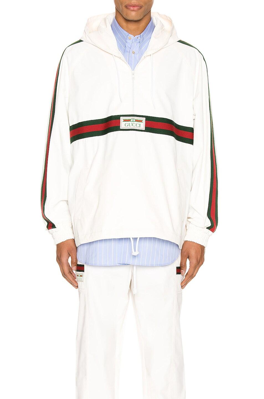 Image 1 of Gucci Cotton Canvas Windbreaker With Gucci Label in White & Multi