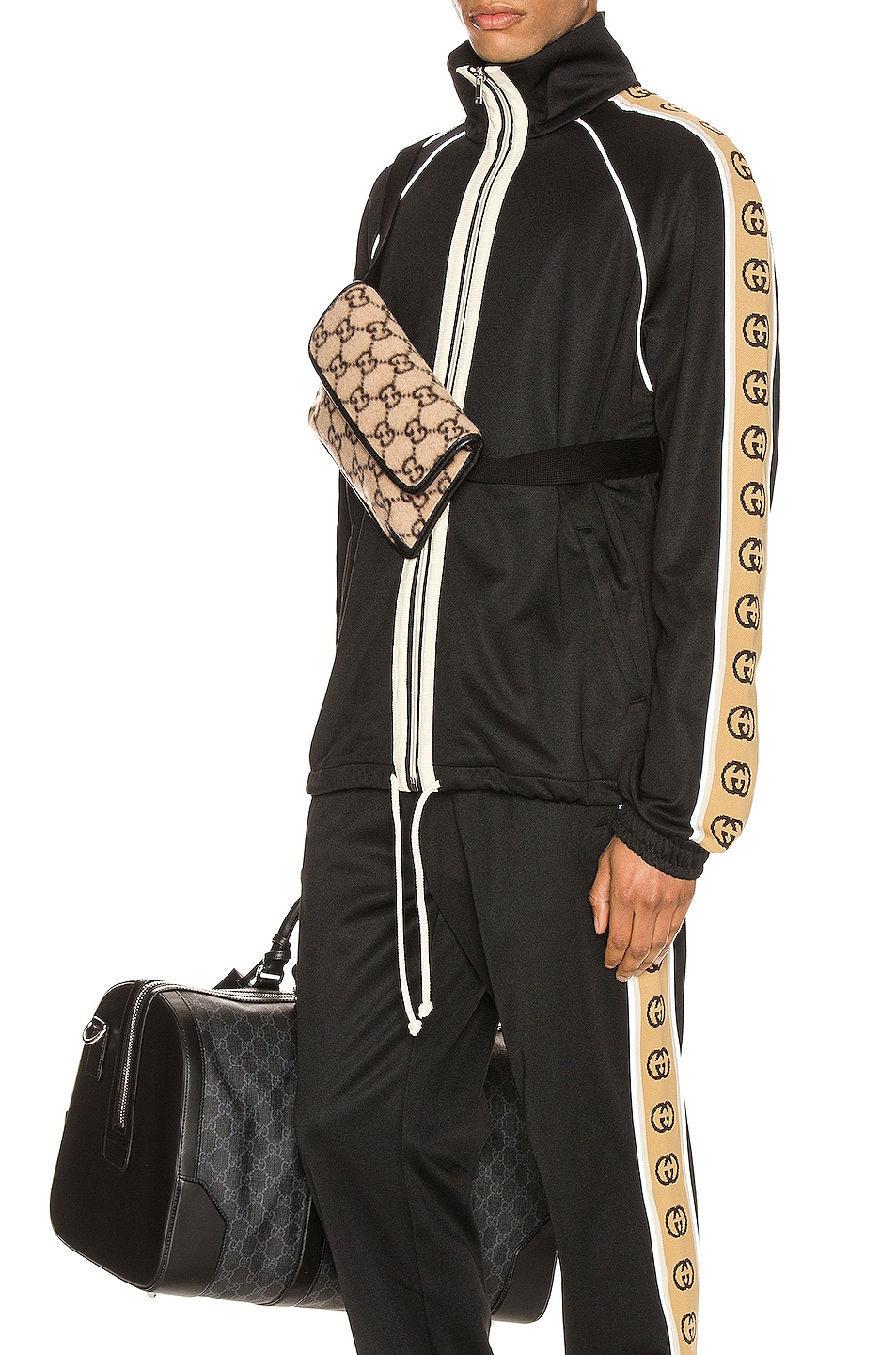 Image 1 of Gucci Oversize Technical Jersey Jacket in Black & Multi
